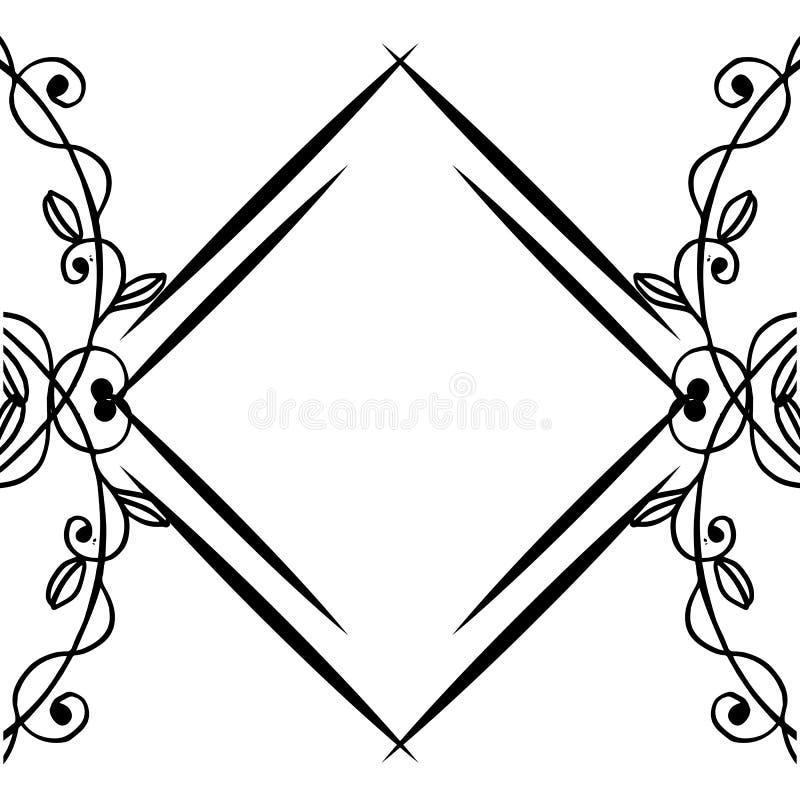 Powitania i zaproszenia szablonu karciany projekt, elegancka kwiecista rama wektor ilustracji