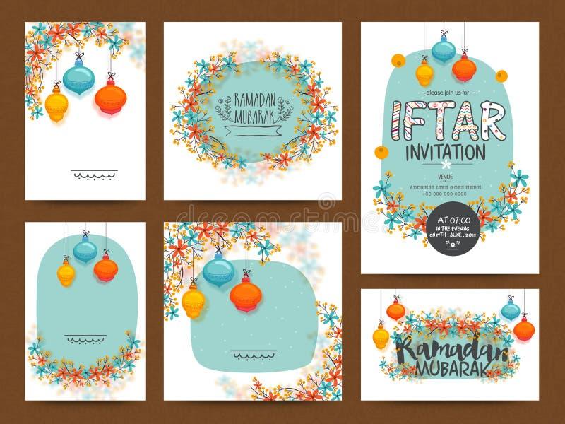 Powitania lub zaproszenia karta ustawia dla Ramadan Kareem ilustracja wektor
