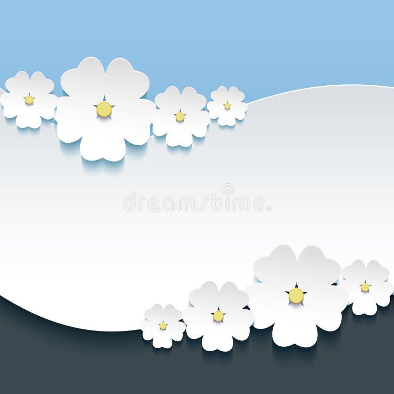 Powitania lub zaproszenia karta z 3d kwitnie Sakura royalty ilustracja