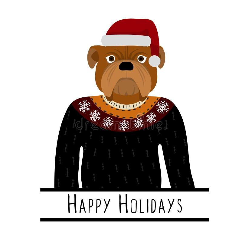 Powitania tło z Angielskim buldogiem Pies z kapeluszem Święty Mikołaj ilustracji