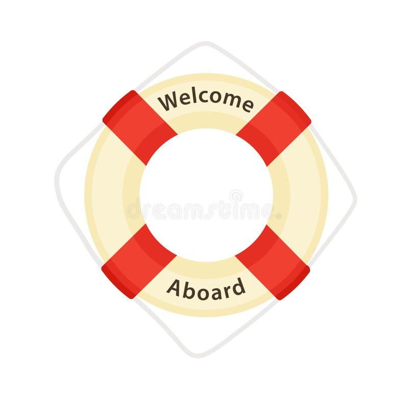 Powitanie Aboard - Lifebuoy ilustracja wektor