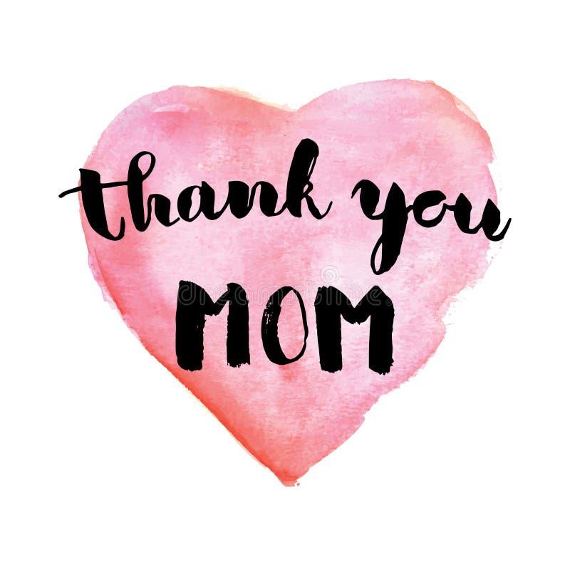 Powitanie akwareli karta mama jest dzień dziękuję mamo Kolorowa ręka rysujący tło z menchiami i fiołków kolorami ilustracja wektor