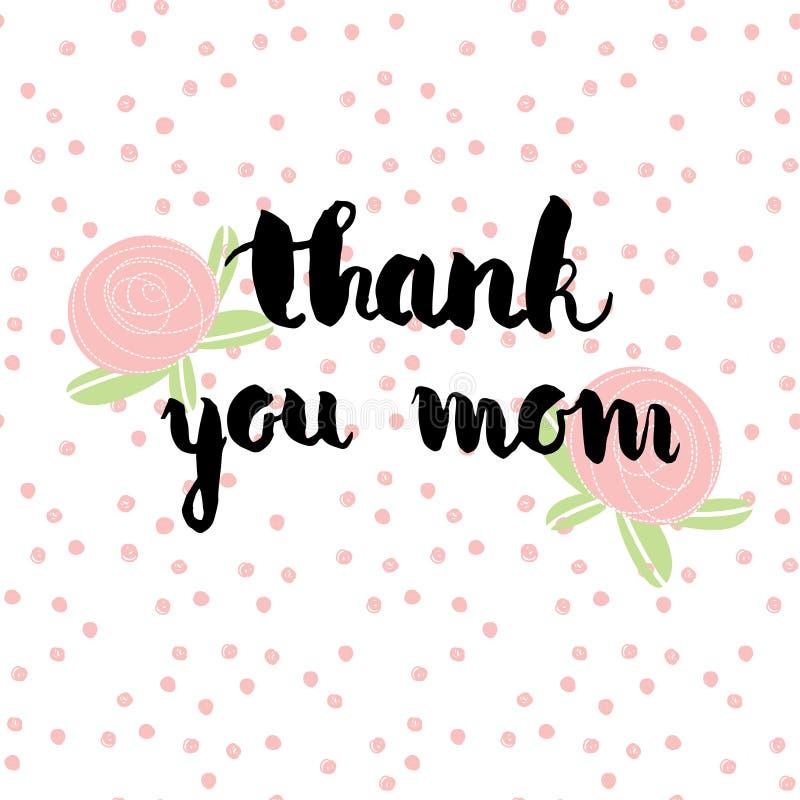 Powitanie akwareli karta mama jest dzień dziękuję mamo Kolorowa ręka rysujący tło z menchiami i fiołków kolorami royalty ilustracja