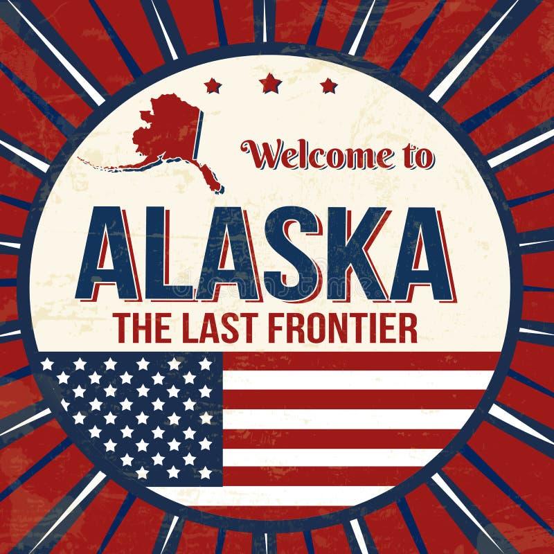 Powitanie Alaska rocznika grunge plakat ilustracja wektor
