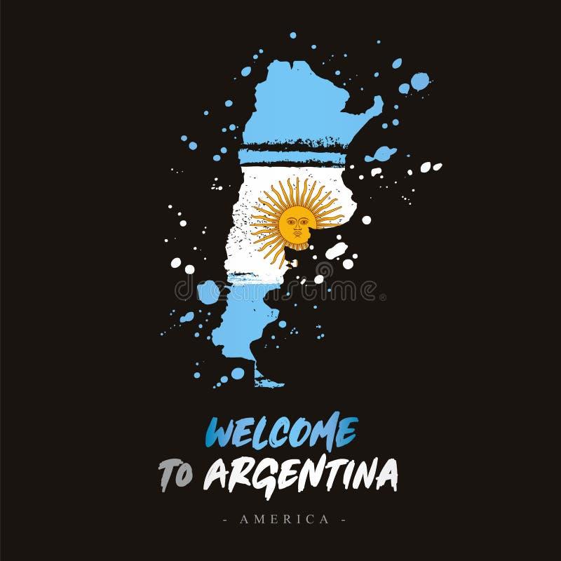 Powitanie Argentyna Flaga i mapa kraj royalty ilustracja