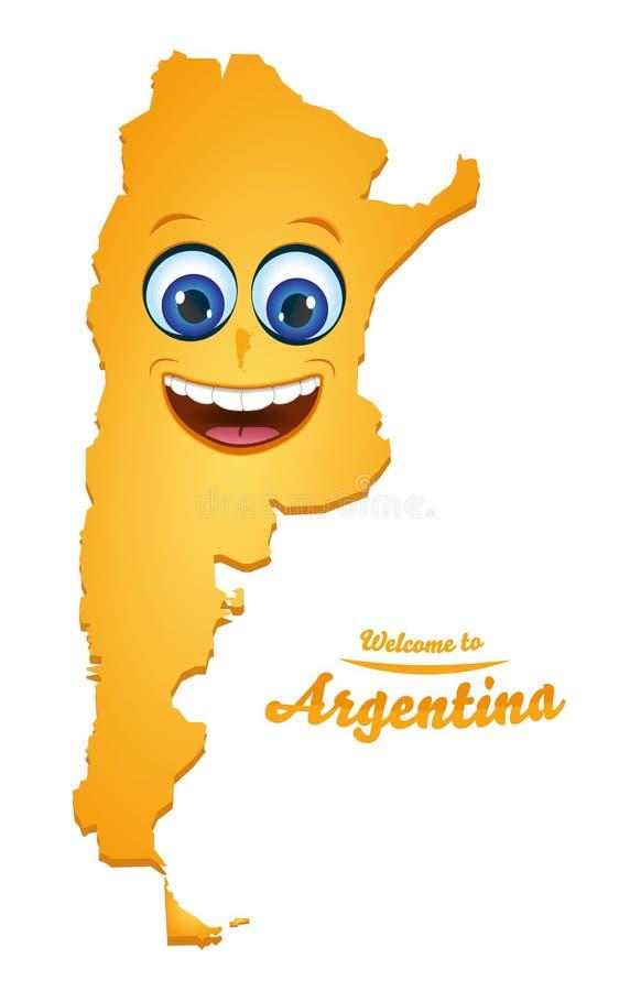 Powitanie Argentyna smiley mapa ilustracja wektor