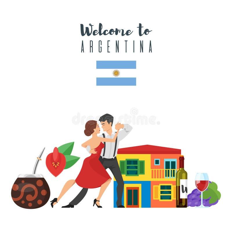 Powitanie Argentyna szablon dla sieć sztandaru lub plakat dla turysty ilustracji