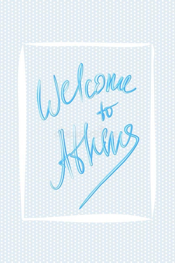 Powitanie Athens Wektorowy powitania literowanie ilustracja wektor