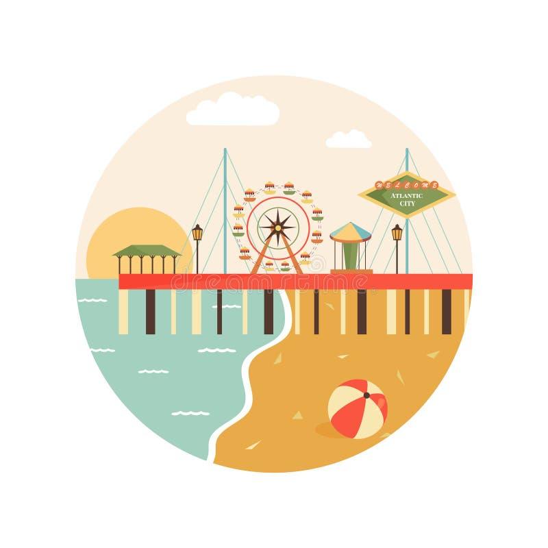 Powitanie Atlantycki miasto plakat Widok na mieście ilustracja wektor