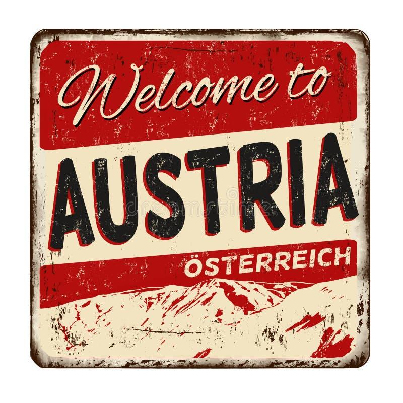 Powitanie Austria rocznika metalu ośniedziały znak ilustracji