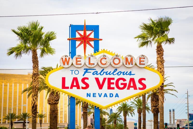 Powitanie Bajecznie Las Vegas znak, Las Vegas pasek, Nevada, usa fotografia stock