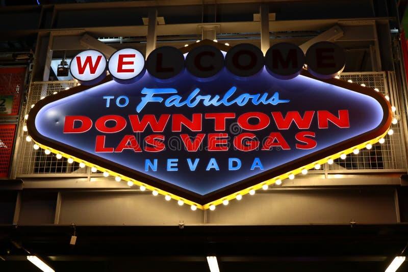 Powitanie Bajecznie W centrum Las Vegas znak przy Fremont ulicą zdjęcie royalty free