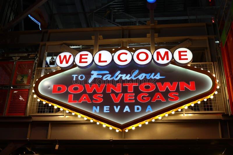 Powitanie Bajecznie W centrum Las Vegas znak przy Fremont ulicą obrazy royalty free