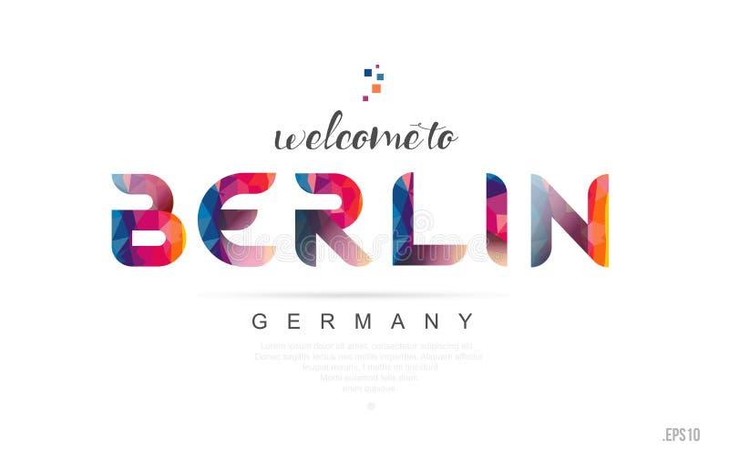 Powitanie Berlin Germany karcianego i listowego projekta typografii ikona ilustracji