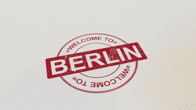 POWITANIE BERLIN znaczka czerwony druk na papierze świadczenia 3 d ilustracji