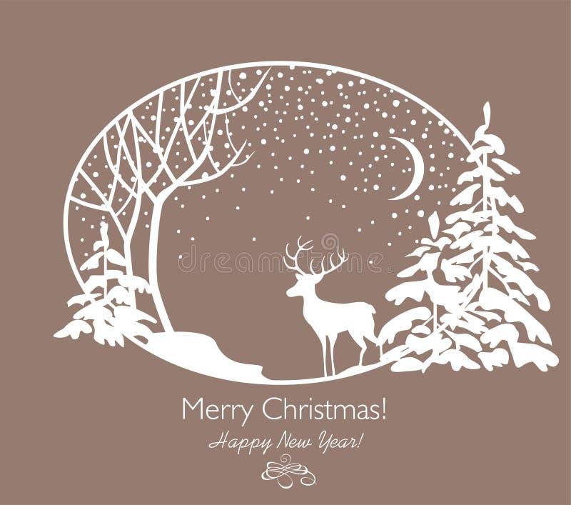 Powitanie Bożenarodzeniowa retro karta z jodłami, drzewem, reniferem i opadem śniegu cięcia out papieru, ilustracja wektor
