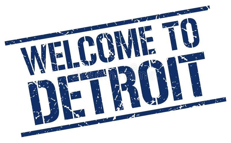 Powitanie Detroit znaczek ilustracja wektor