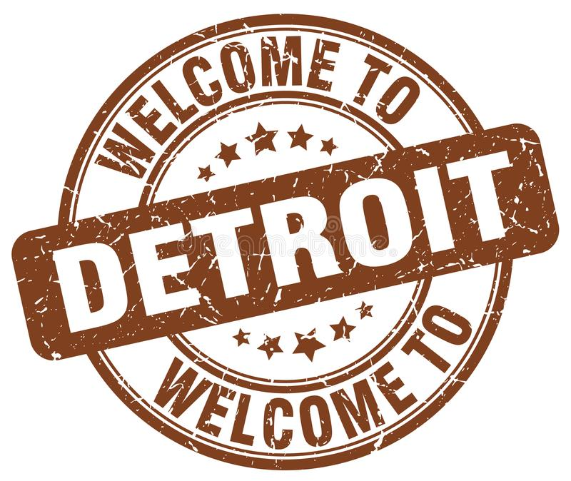 Powitanie Detroit znaczek royalty ilustracja