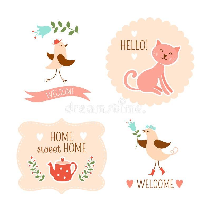 Powitanie domowi dekoracyjni elementy ilustracji