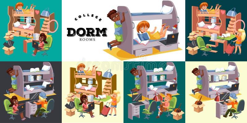 Powitanie dorm mieszkania izbowy kolorowy set z powrotem składał się wnętrze uczni mieszkania i budynek dormitorium wektor royalty ilustracja
