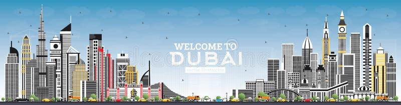 Powitanie Dubaj UAE linia horyzontu z Szarymi budynkami i niebieskim niebem ilustracji