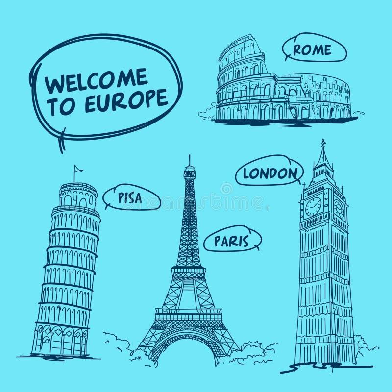 Powitanie Europa Pisa Rome Paris Londyńska wieża eifla royalty ilustracja