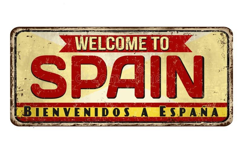 Powitanie Hiszpania rocznika metalu ośniedziały znak ilustracja wektor