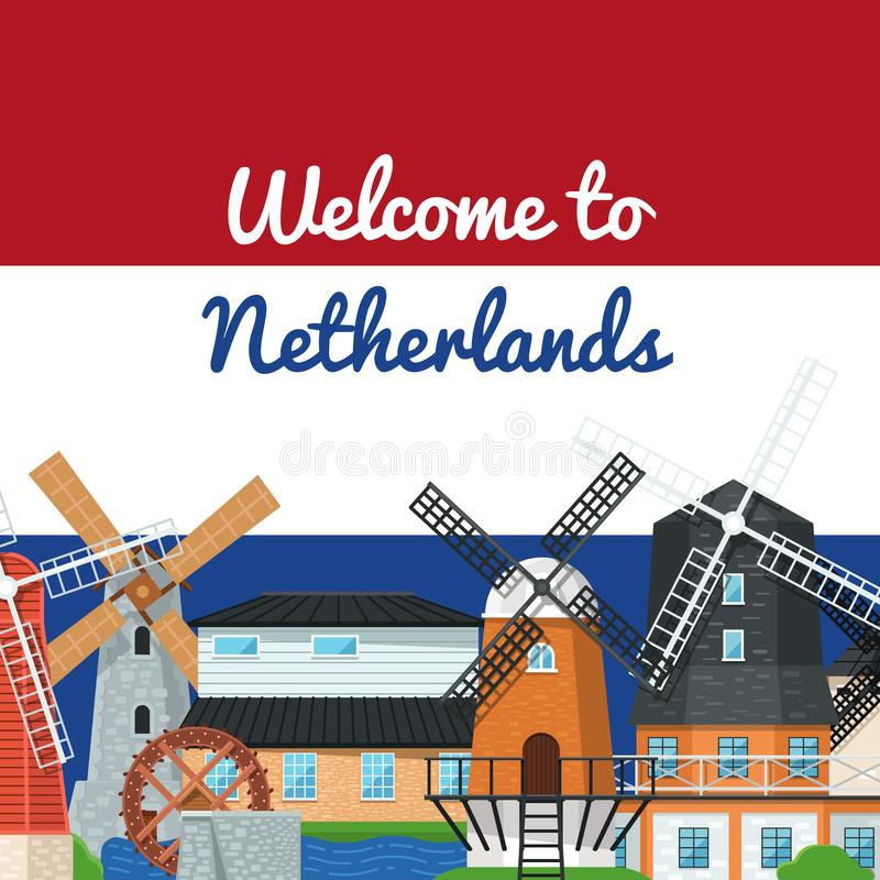 Powitanie holandie plakatowe z wiatraczkami ilustracji