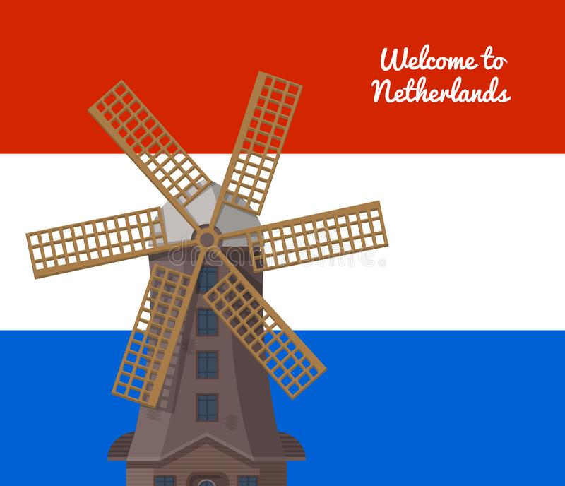 Powitanie holandie plakatowe z wiatraczkiem ilustracji