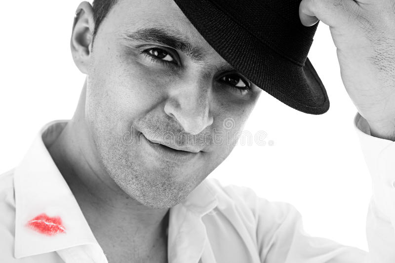 powitanie kapelusz jego pomadki mężczyzna koszula zdjęcie royalty free