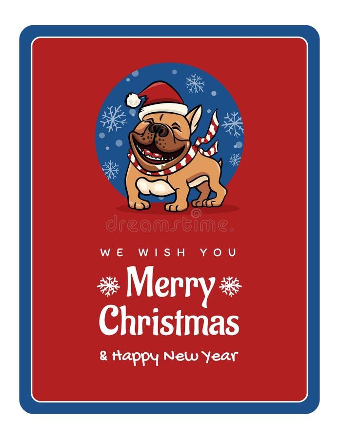 Powitanie karta życzymy Wam poślubiającego boże narodzenia i Szczęśliwego nowego roku, śmieszny Angielski buldog ilustracja wektor