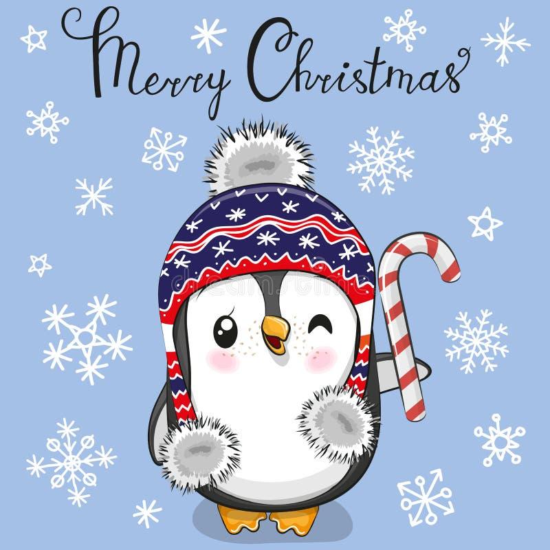 Powitanie kartki bożonarodzeniowej kreskówki pingwin w kapeluszu na błękitnym tle ilustracja wektor