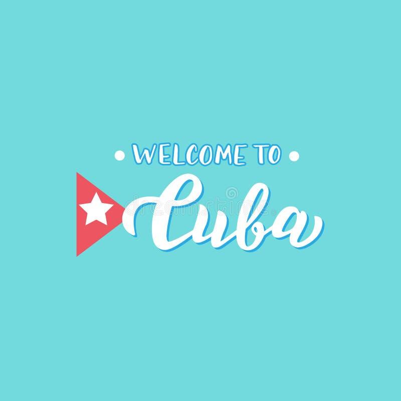 Powitanie Kuba tekst Agencja podróży modny plakat Odzież i pamiątka druk royalty ilustracja