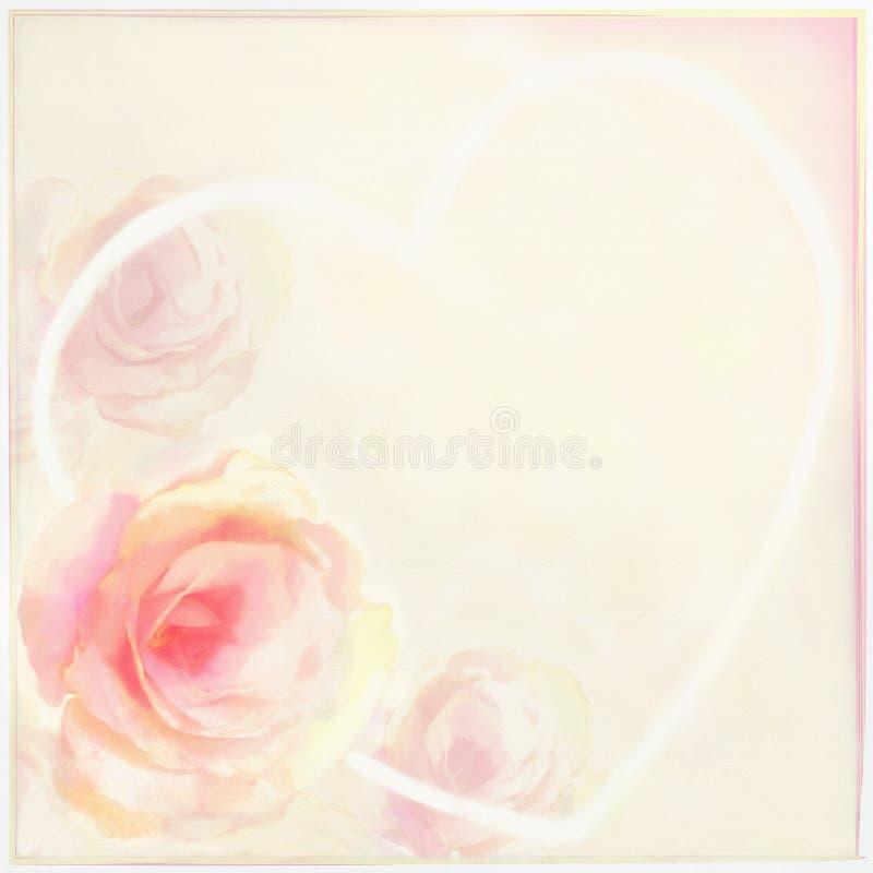 Powitanie kwiecista karta z lekkimi różami, abstrakcjonistycznym sercem i ramą, ilustracja wektor
