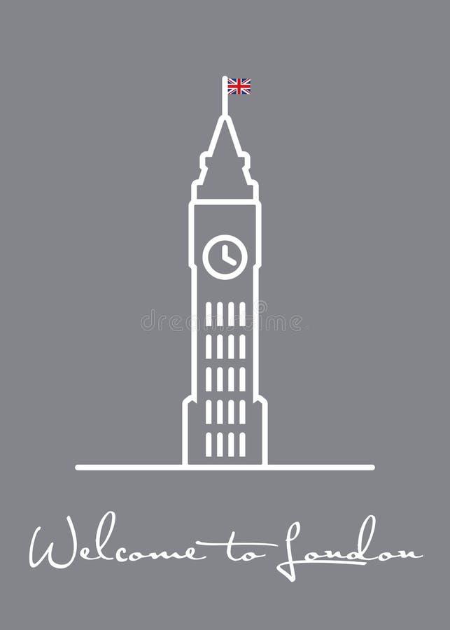 Powitanie Londyński kartka z pozdrowieniami z Big Ben ikoną ilustracja wektor