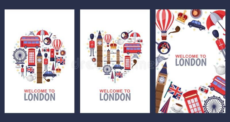 Powitanie Londyńskie powitanie pamiątki karty, druk lub plakatowy projekta szablon, Podróż Wielka Brytania mieszkania ilustracja royalty ilustracja