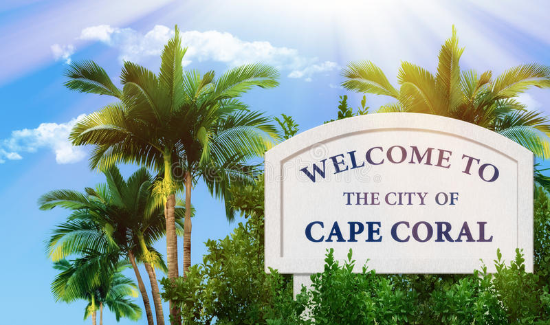 Powitanie miasto przylądka koral royalty ilustracja