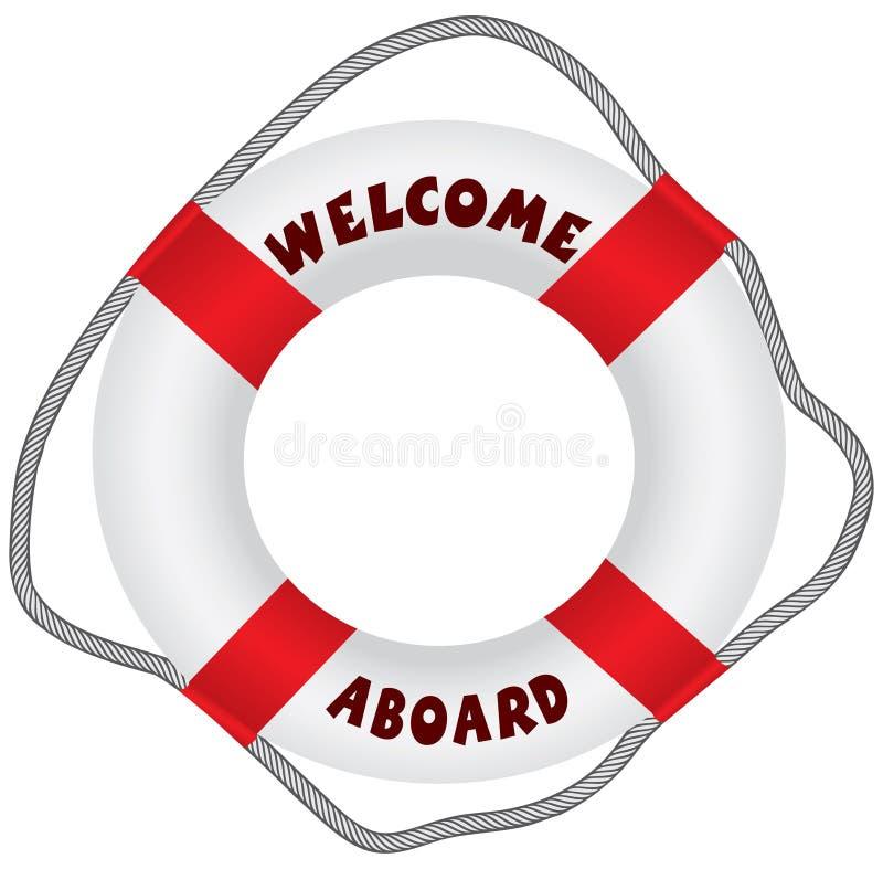 Powitanie na pokładzie lifebuoy ilustracji