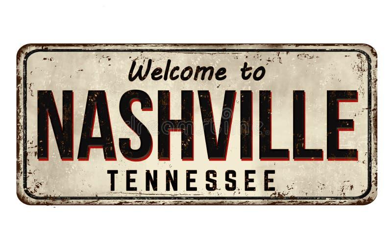Powitanie Nashville rocznika metalu ośniedziały znak ilustracja wektor