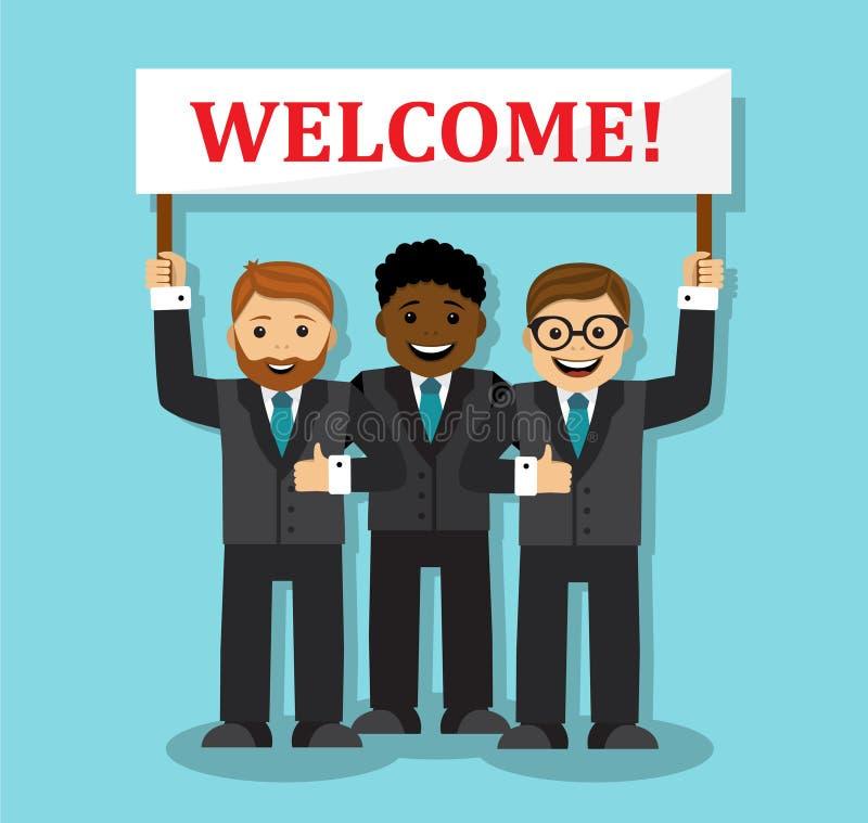 Powitanie nasz biznesowa drużyna royalty ilustracja