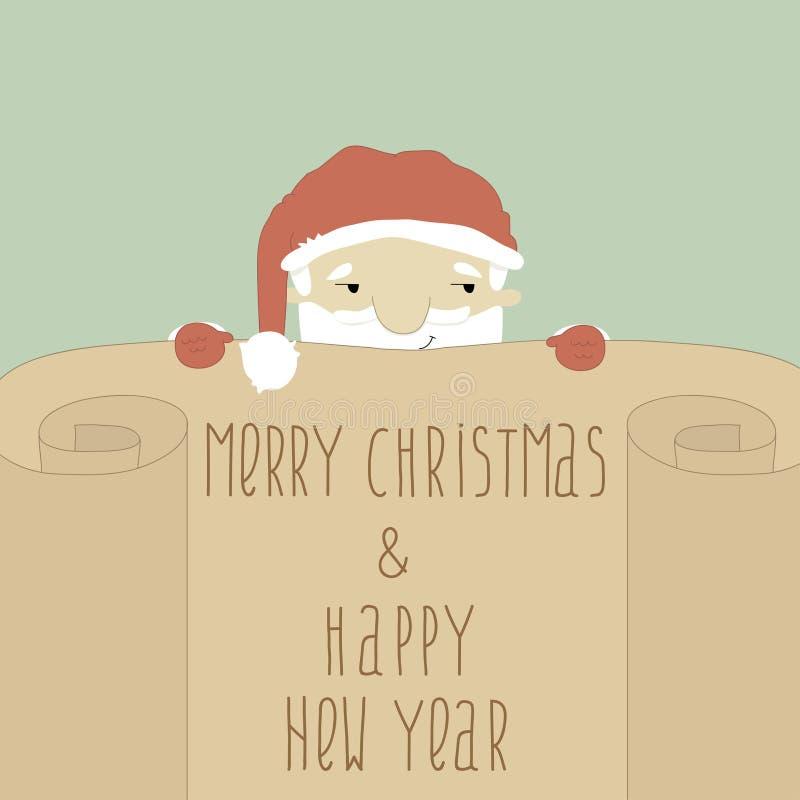 Powitanie nowego roku i bożych narodzeń karta z Santa Cl royalty ilustracja