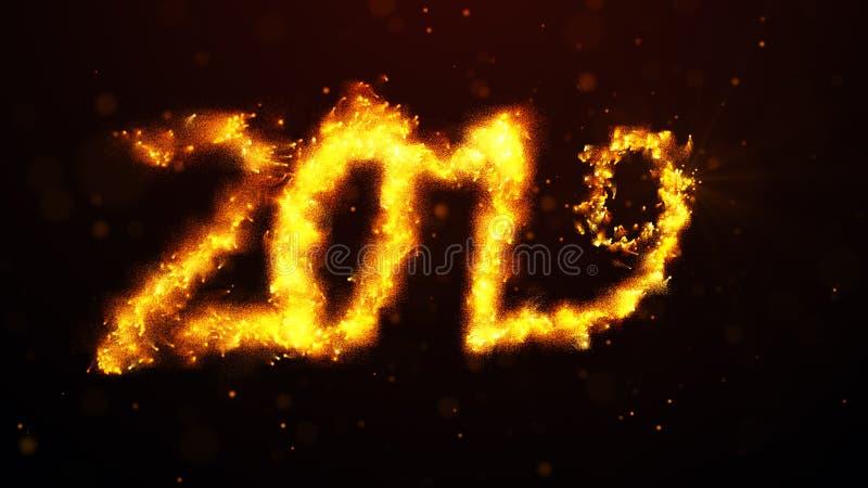 Powitanie nowy rok 2019 olśniewający kolor żółty błyska fajerwerki ilustracja wektor