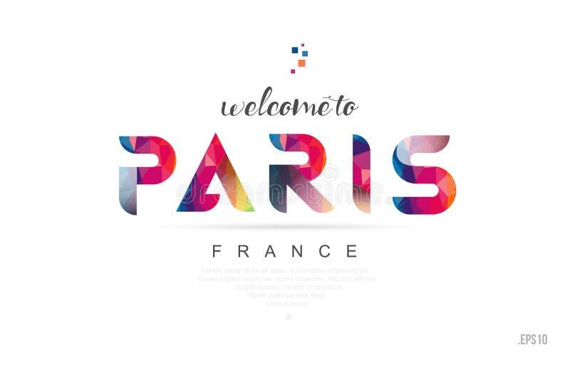 Powitanie Paris France karcianego i listowego projekta typografii ikona ilustracji