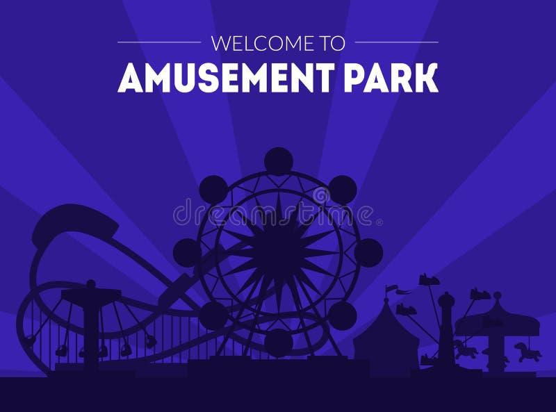 Powitanie parka rozrywkiego sztandaru szablon, nocy Funfair Karnawałowy plakat z Ferris kołem i kolejka górska, royalty ilustracja