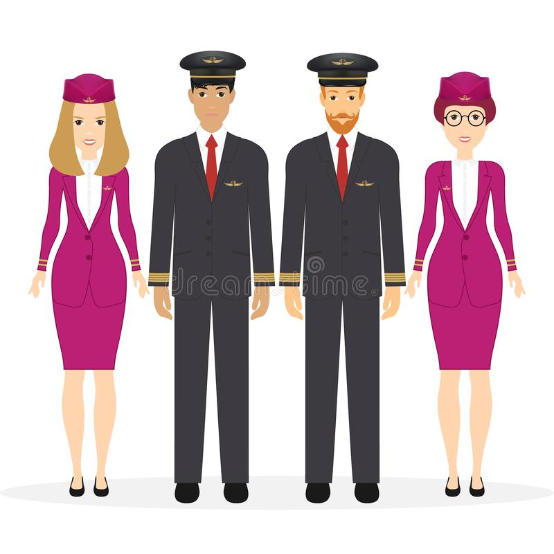 Powitanie podróżować samolotem Pilot, capitan, latający posługacze, lotniczy gospodyni domu Wektorowy ilustracyjny postać z kresk royalty ilustracja