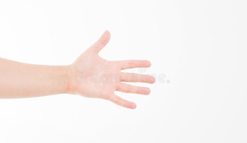 Powitanie ręka caucasian ręka Egzamin próbny Up kosmos kopii szablon blank fotografia royalty free