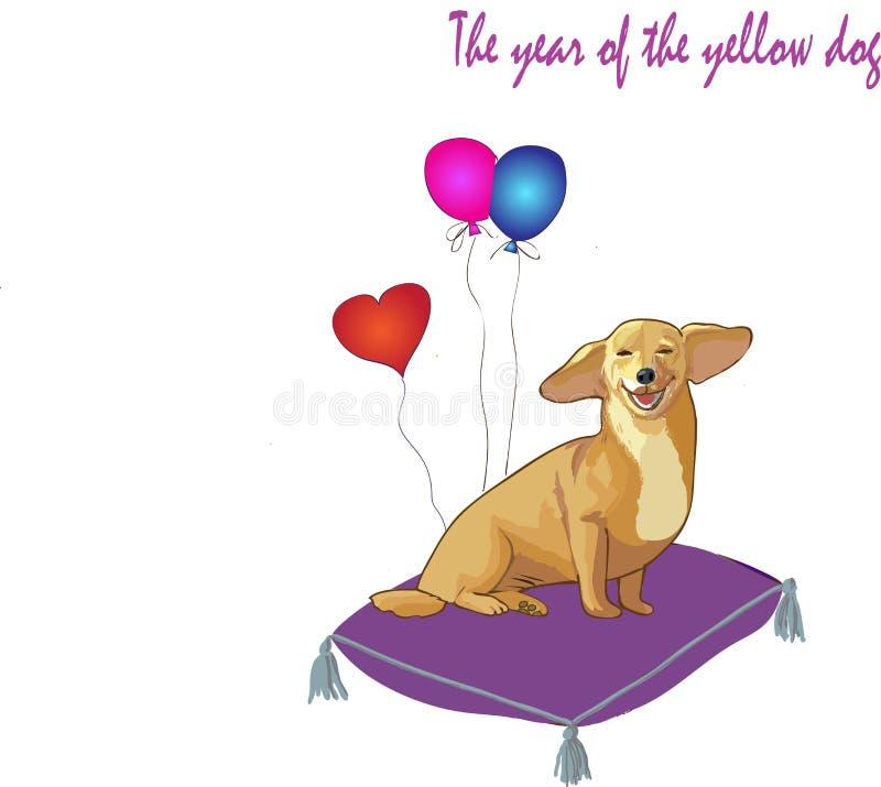 Powitanie rok żółty pies royalty ilustracja