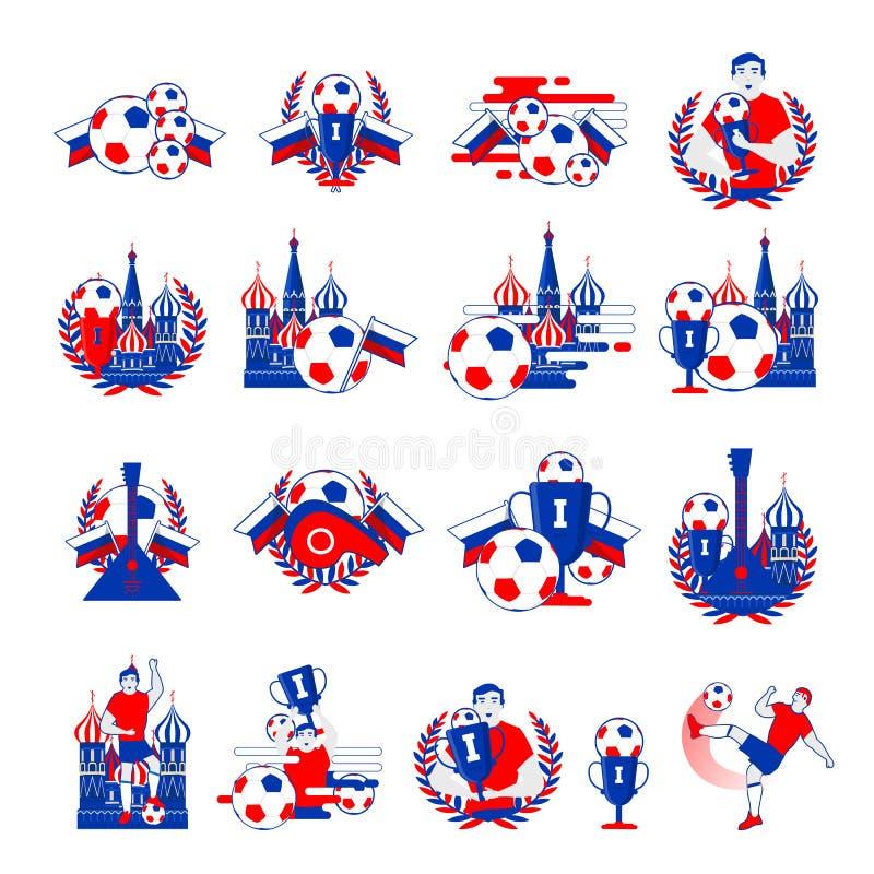 Powitanie Rosja futbolu odznaki ilustracja wektor