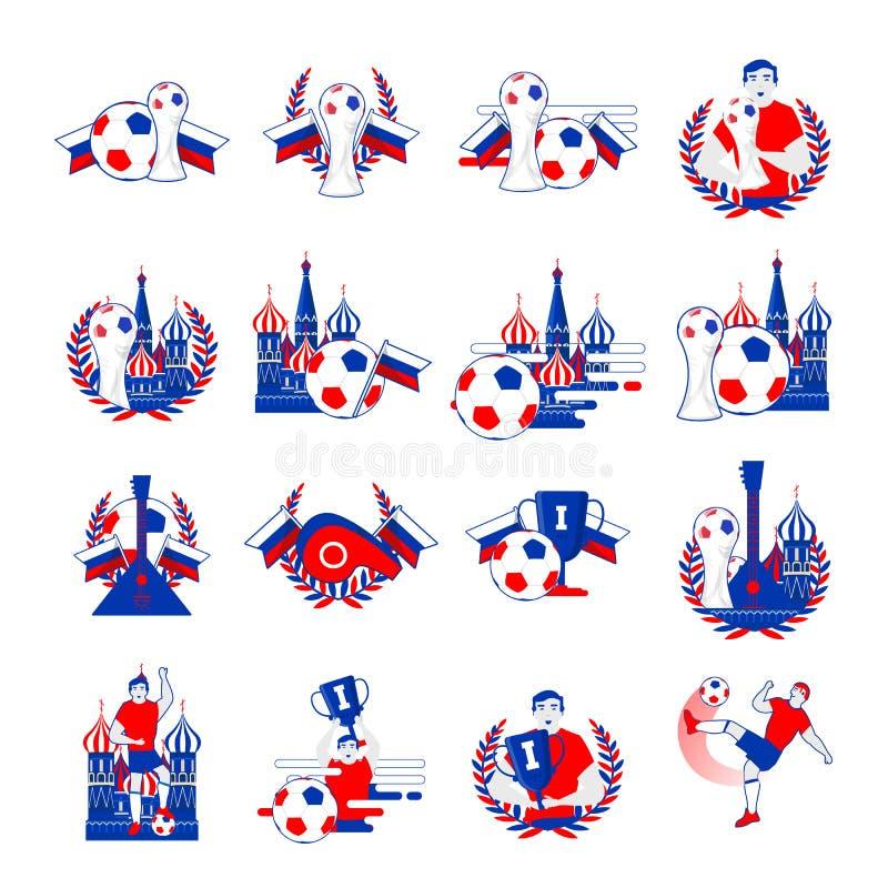 Powitanie Rosja odznak wektoru wpisowy set Abstrakcjonistyczni zaproszenia inkasowi na światowej futbolowej filiżance 2018 ilustracji