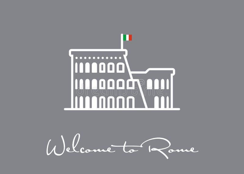 Powitanie Rzym kartka z pozdrowieniami z Colosseum rujnuje ikonę ilustracji